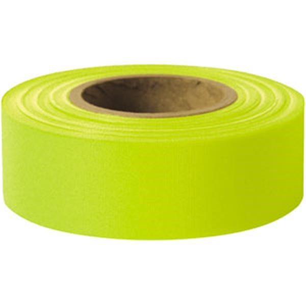 "Presco Solid-Color Roll Flagging, PresGlo, Taffeta, 1 3/16"" x 150, Lime Glo"