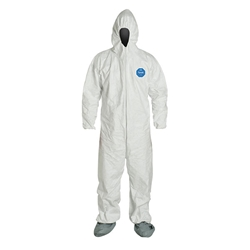 DuPont™ Tyvek® Coveralls w/ Respirator Fit Hood, Elastic Wrists, & Attached Skid-Resistant Boots, Large