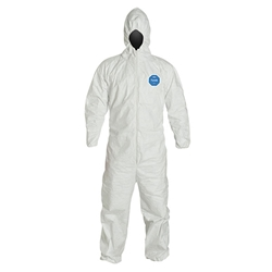 DuPont™ Tyvek® Coveralls w/ Respirator Fit Hood & Elastic Wrists & Ankles, Large